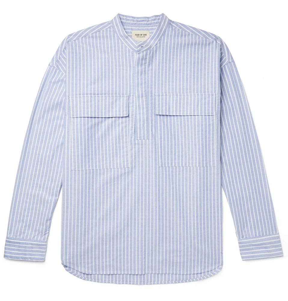 Oversized Grandad-Collar Striped Cotton Oxford Half-Placket Shirt