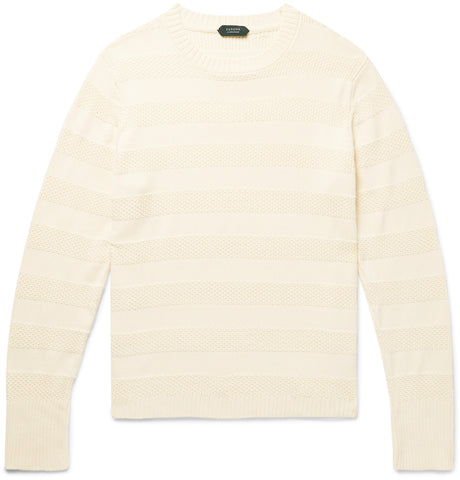 Striped Textured-Cotton Sweater
