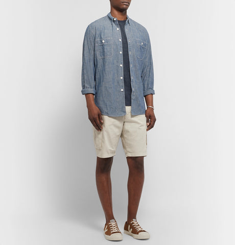 Slim-Fit Garment-Dyed Cotton, Lyocell and Linen-Blend Twill Cargo Shorts