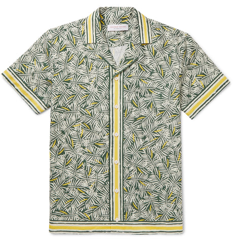 Travis Slim-Fit Camp-Collar Printed Cotton and Linen-Blend Shirt