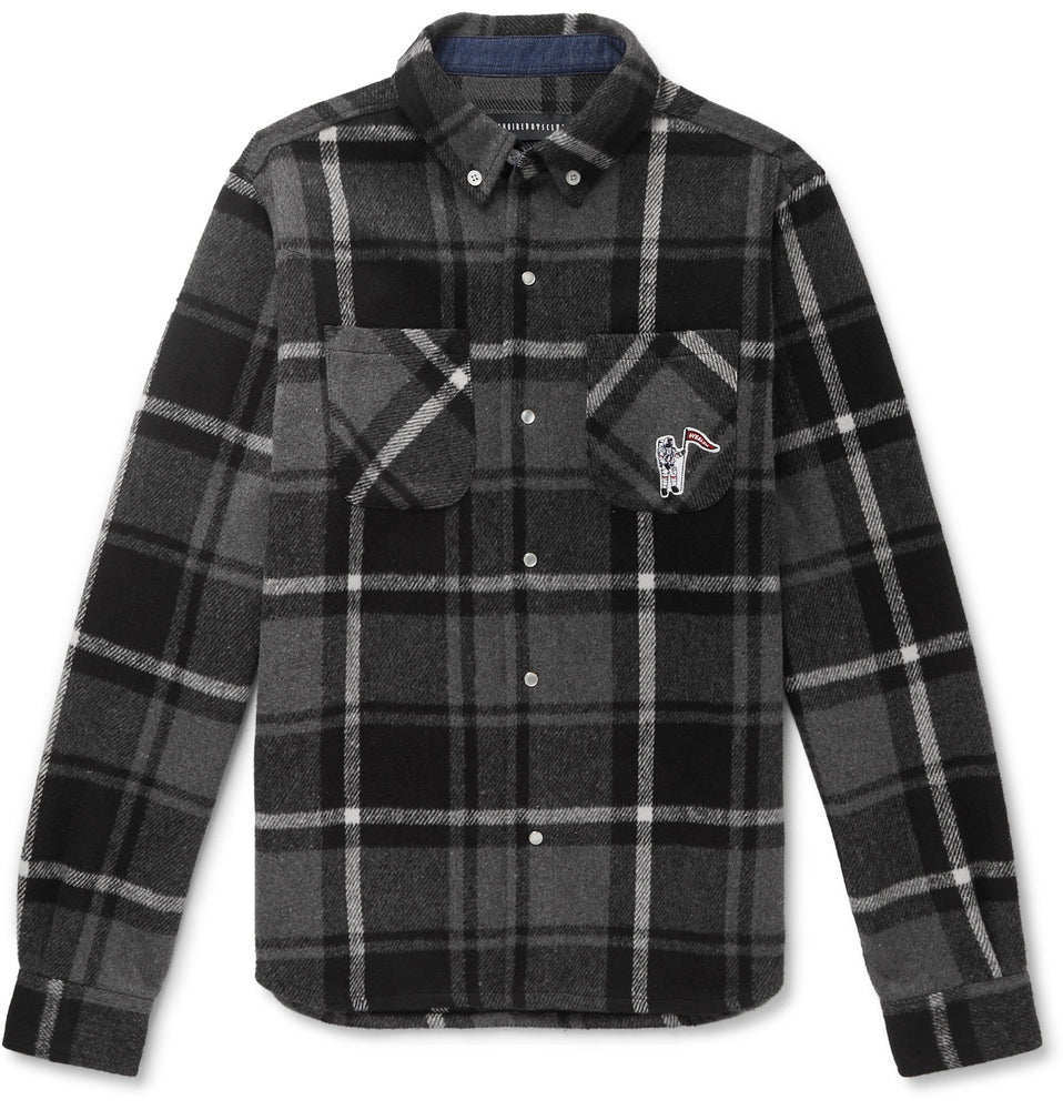 Button-Down Collar Logo-Appliquéd Checked Flannel Overshirt