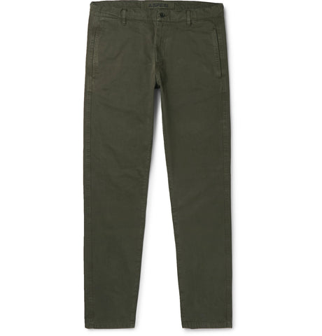 Tapered Garment-Dyed Cotton-Twill Trousers