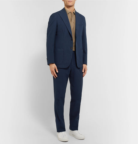 Navy Dan II Slim-Fit Unstructured Stretch-Cotton Blend Seersucker Suit Jacket