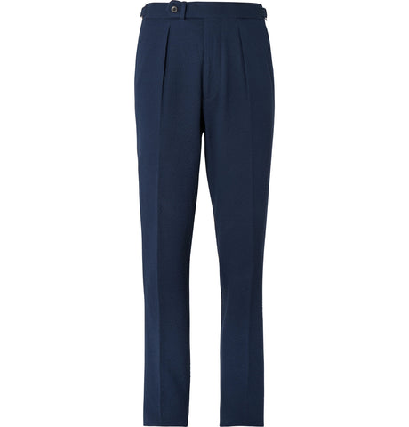 Navy Arnold Slim-Fit Stretch-Cotton Blend Seersucker Suit Trousers