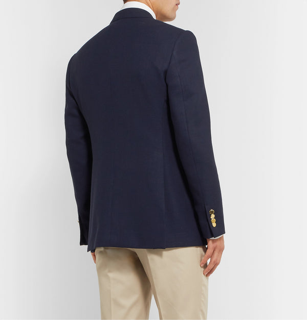 Navy Slim-Fit Double-Breasted Wool Blazer