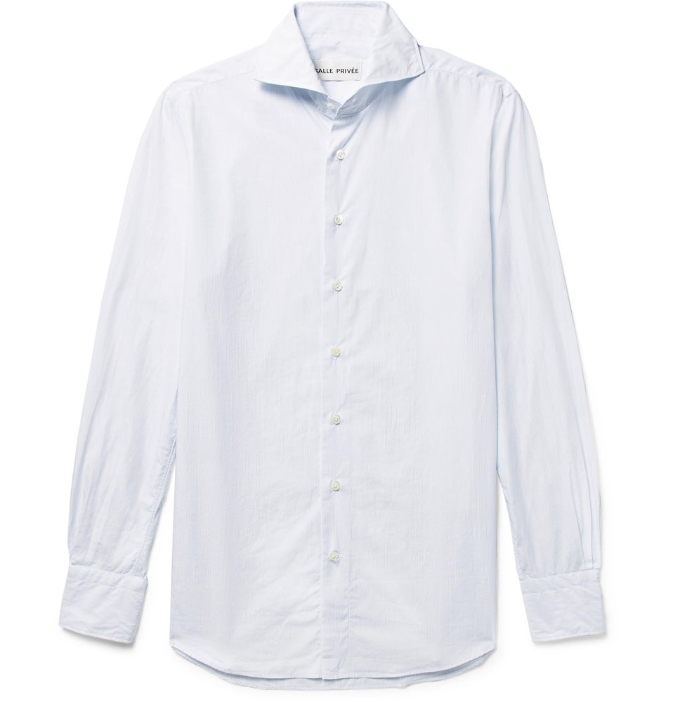 White Evron Slim-Fit Cutaway-Collar Pinstripe Cotton-Poplin Shirt