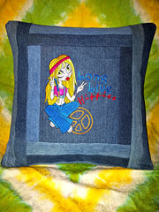 "Long Live Hippies...Re-purposed denim...Embroidered...18"" pillow sham"