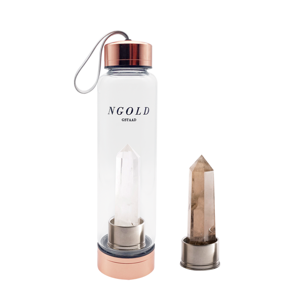 The Golden Set | Clear Quartz Water Bottle and 1 Interchangeable Crystal | & Digital Guide