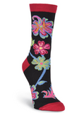 Women's Abstract Floral Crew Socks - Socksplus1