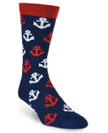 Men's Anchors Crew Socks - American Made - Socksplus1