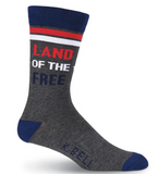 Men's Land of the Free Crew Socks - American Made - Socksplus1