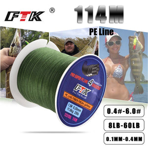 FTK 114M Braided Wire PE Braided 0.4#-6.0# Code 4 Strands 8-60LB PE Braided 0.1-0.4mm Multifilament Fishing Line for Saltwater