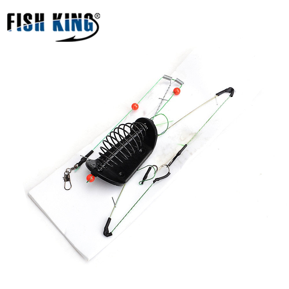FISH KING 1PC 20G-100G Length 39CM Three hooks  Fishing Bait Cage lead sinker Swivel With Line Hooks For Carp Feeder - ShopRandy