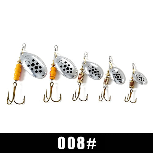 FISH KING Spinner Bait 1pc 3.2g 4.3g 6.1g 9.6g 13.6g Fishing Lure Bass Hard Baits Spoon With Treble Hook Tackle High Quality - ShopRandy