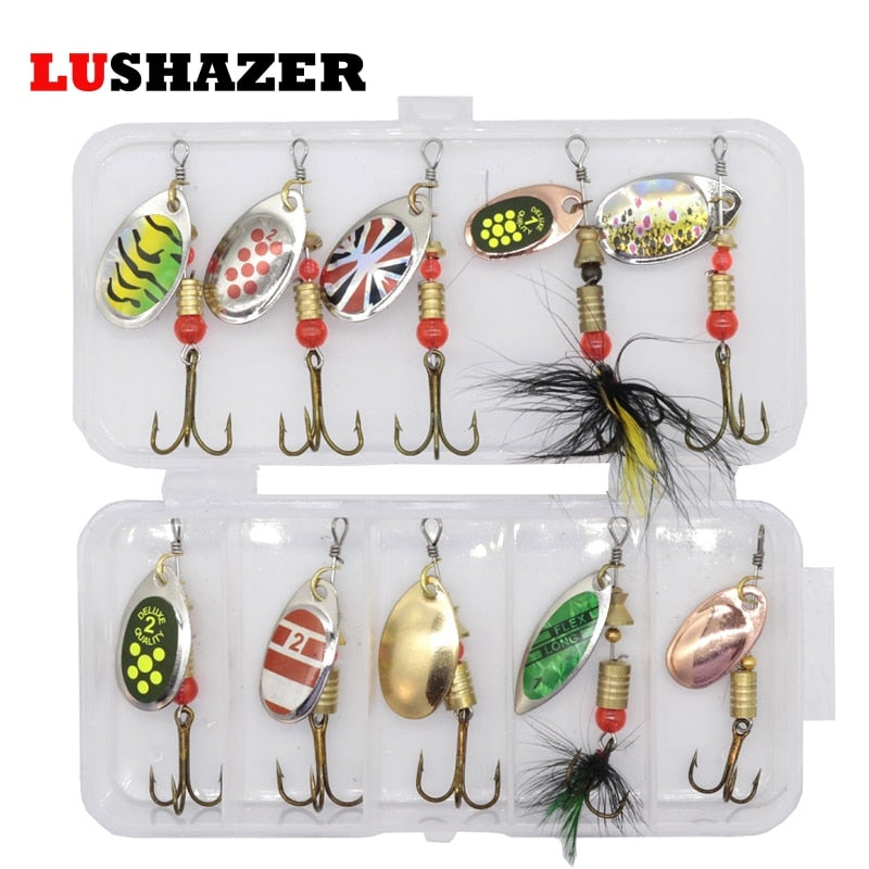10pcs/lot LUSHAZER fishing spoon lures spinner bait 2.5-4g fishing wobbler metal baits spinnerbait isca artificial free with box - ShopRandy