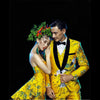 Gold Yellow 4 Pieces Set Quality Red-crowned Suits, Crane Pattern Brocade Jacquard Suits, Wedding Groom Stage Costume