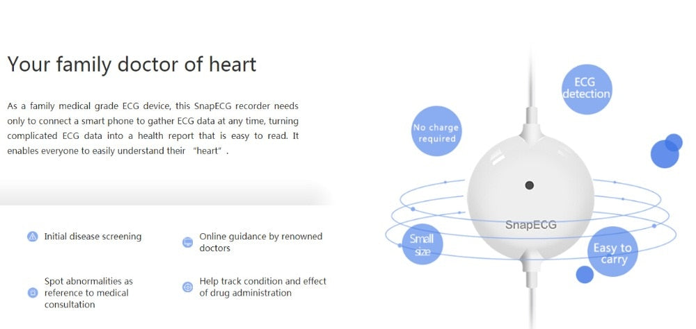 wearable ECG Monitor, heart Support Electrode support on Android or IOS  Health care