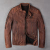 Cow-skin Jacket, men's genuine Leather slim biker coat, cool punk skull jackets, vintage brown Leather Jacket