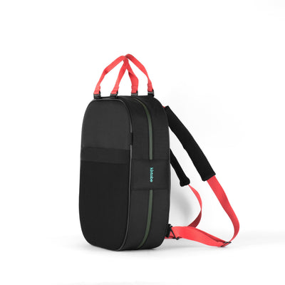 Backpack, black + coral straps