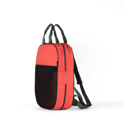 Backpack, coral + green straps