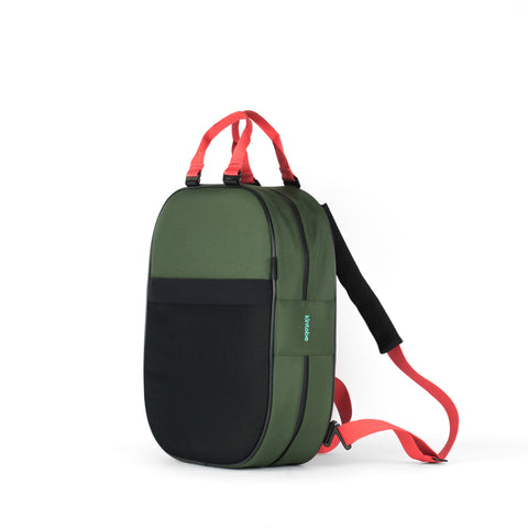 Backpack, green + coral straps