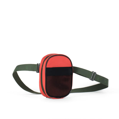 Belt Bag, Coral + Green Strap