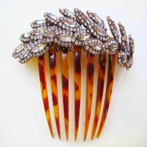 Spiked Leaf Crystal Comb