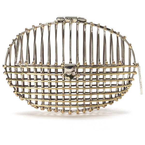 Two tone oval cage clutch