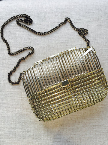 Large Two Tone Cage Bag