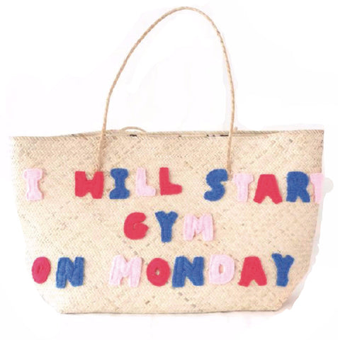 I Will Start Gym on Monday Beach Tote