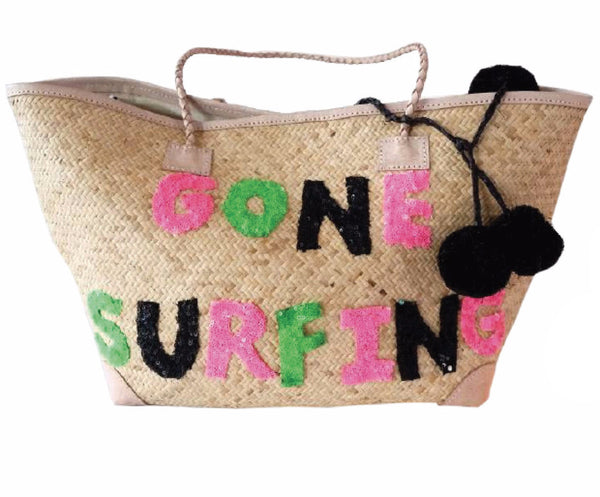 Gone Surfing Beach Tote with Leather Trim