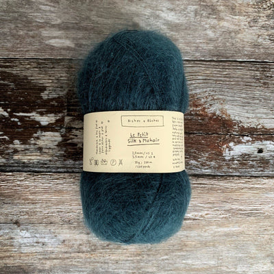 Biches & Bûches Le Petit Silk & Mohair - Dark Blue Turquoise - 4ply Knitting Yarn