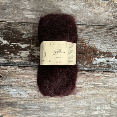 Biches & Bûches Le Petit Silk & Mohair - Dark Burgundy Grey - 4ply Knitting Yarn