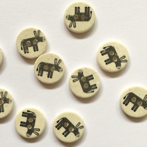 TextileGarden 15mm - Grey Donkey Button -  - Buttons