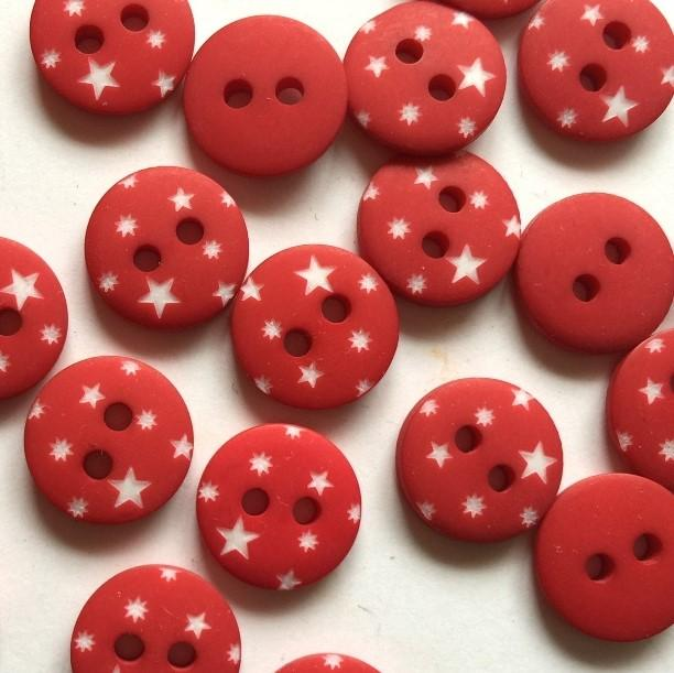 TextileGarden 12mm - Red with White Star Button -  - Buttons