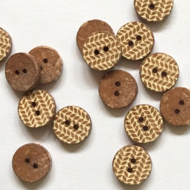 TextileGarden 12mm - Brown Knit Pattern Button -  - Buttons