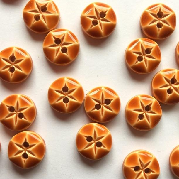 TextileGarden 10mm - Orange Glossy Button -  - Buttons