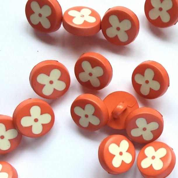 TextileGarden 12mm - Matt Orange with Flower Button -  - Buttons