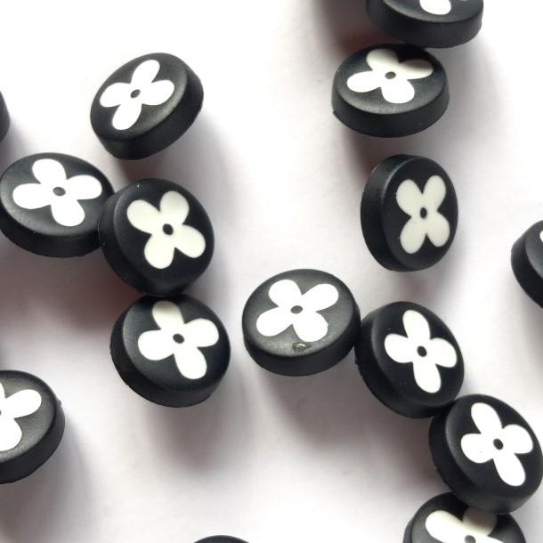 TextileGarden 12mm - Matt Black with Flower Button -  - Buttons