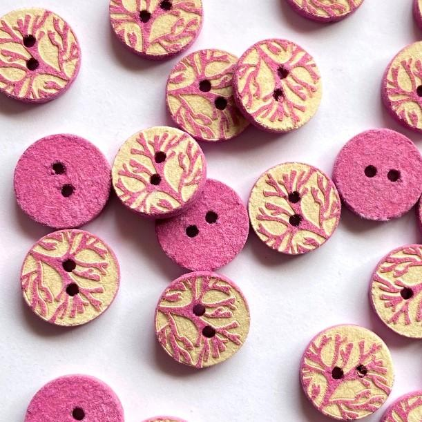 TextileGarden 12mm - Pink Patterned Button -  - Buttons