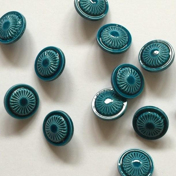 TextileGarden 15mm - Teal Ceramic Polyester Button -  - Buttons