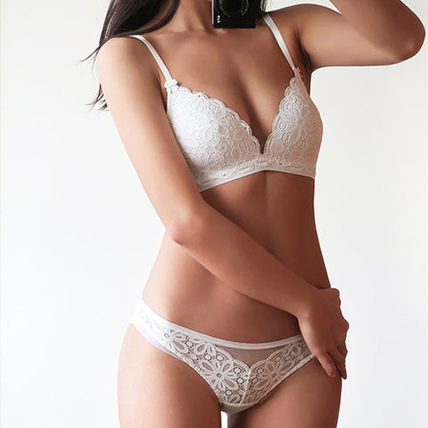 Image of Sexy Lace 3/4 Cup Bra Sets For Women Wireless