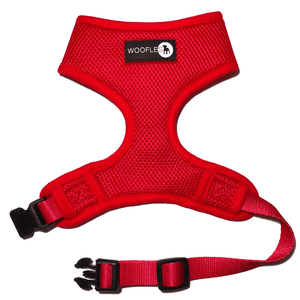 Front of Woofles Dual AirMesh Dog Harness Red
