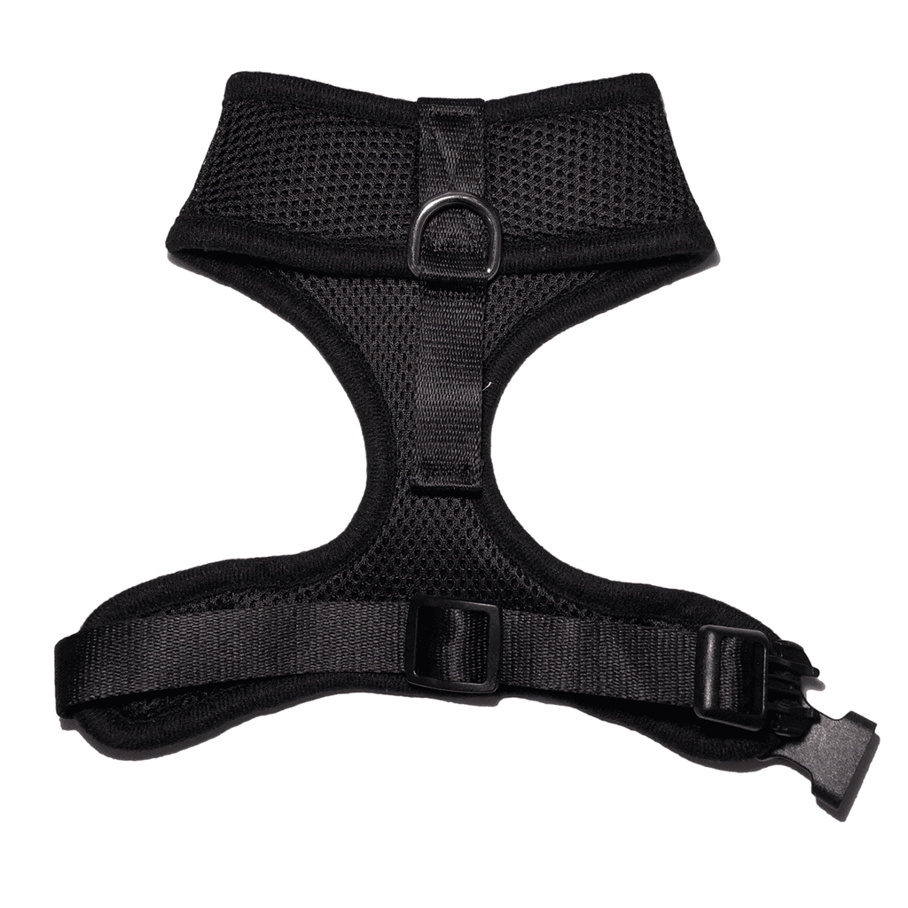 2nd side view of Woofles Dual AirMesh Dog Harness Black