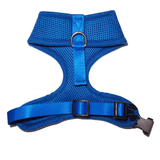 2nd side view of Woofles Dual AirMesh Dog Harness Blue