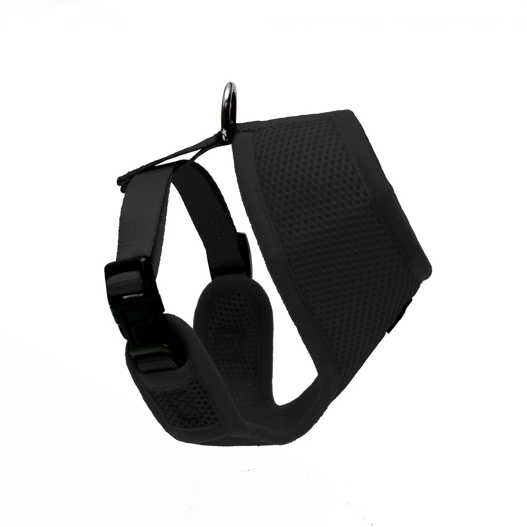 Side view of Woofles Dual AirMesh Dog Harness Black