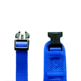 Close up of buckles on Woofles Dual AirMesh Dog Harness Blue