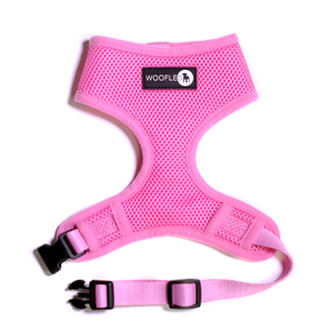 Front of Woofles Dual AirMesh Dog Harness Pink