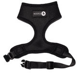 Front of Woofles Dual AirMesh Dog Harness Black