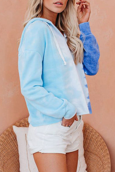 Blue Colorblock The Sun Tie Dye Hoodie